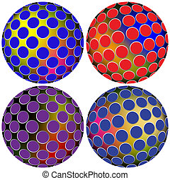 colored spheres against white