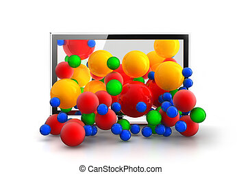 Colored spheres falling from 3D TV