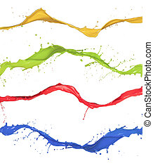 Colored splashes collection isolated on white background