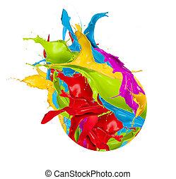 Colored splashes design icon, isolated on white background