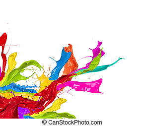 Colored splashes in abstract shape, isolated on white ...