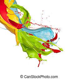 Colored splashes on white background