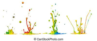 Colored splashes isolated on white background