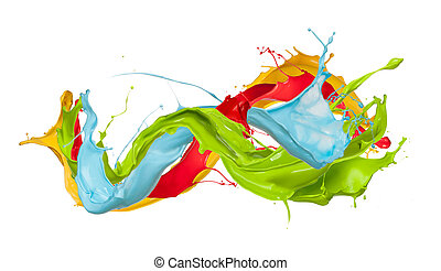 Colored splashes in abstract shape, isolated on white...