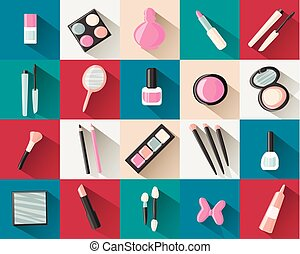 flat icons cosmetics