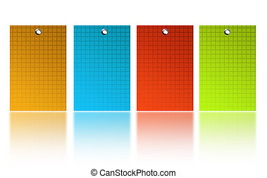 yellow, blue, red and green squares over wihite back ground