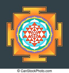 colored Sri yantra illustration - vector colored hinduism...
