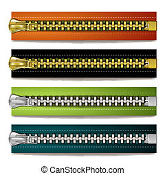 Colored steel zipper over white background