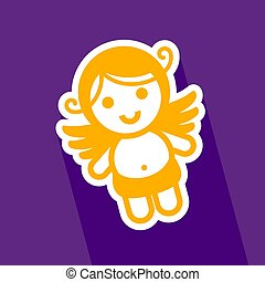 Colored sticker angel