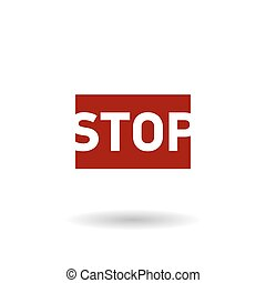 colored stop sign flat vector icon