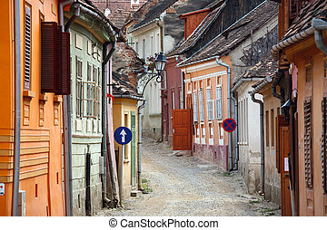 medieval town - colored street in sighisoara medieval town, ...