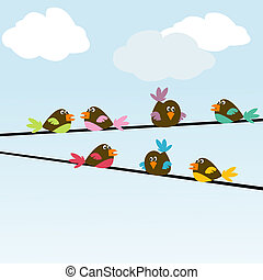 Colored stylized birds on wires