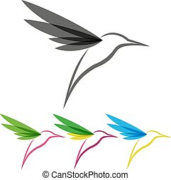 Vector Colored Stylized Tropical Hummingbirds Template for Logo Design
