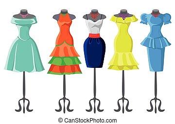 Colored summer dresses on mannequin.Fashion set