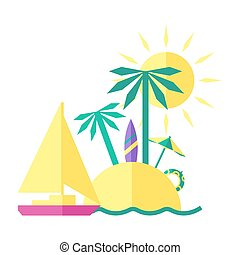 Colored summer illustration of an Island