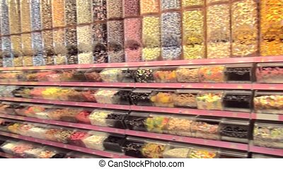 Colored sweets in the shop
