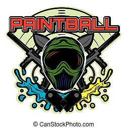 colored template for design on the theme of paintball his helmet, weapon, blots