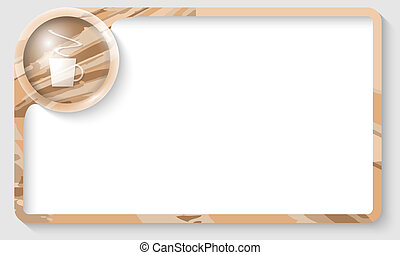 colored text frame for any text with cup of coffee