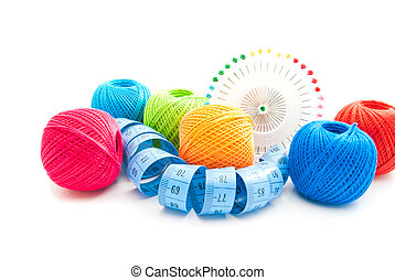 colored thread and other items for needlework