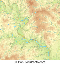 Colored Topographic map - Realistic Topographic map of an...