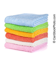 Colored towels. Isolated on white background
