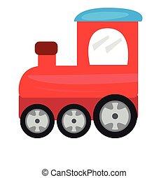Colored train toy icon