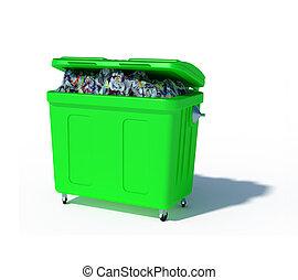 colored trash recycling bin illustration