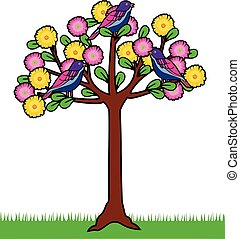 colored tree with birds and flowers
