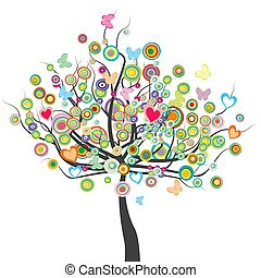 Colored tree with flowers, butterflies and circle shape leaves.eps