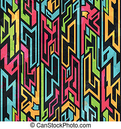 colored tribal graffiti seamless pattern