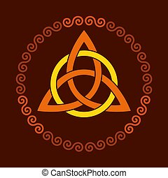 Colored triquetra with circle, triangular Celtic knot in spiral frame