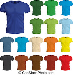 A multicolored set of blank tshirt templates.