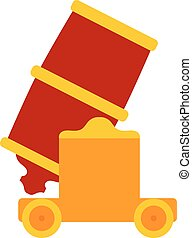 Colored vector cartoon  red cannon on a white background. The subject of aggression and