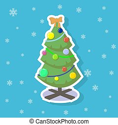 vector cartoon sticker illustration of a flat art Christmas tree