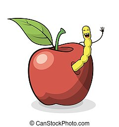 vector flat art illustration of a cartoon apple with worm