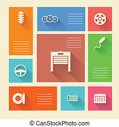 Colored vector icons for auto repair with place for text -...