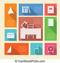 Colored vector icons for school supplies with place for text