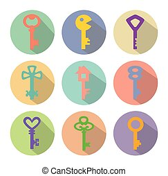 colored vector icons of keys