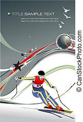 Colored vector illustration of skier image - v