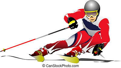 Colored vector illustration of skier image