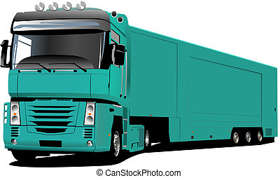 Colored Vector illustration of truck.