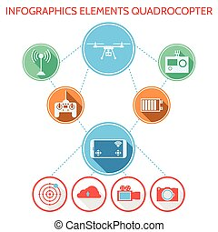 Colored vector infographic for quadrocopter set - Related...