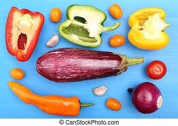 Colored vegetables.
