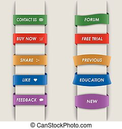 Colored vertical web bookmarks background vector eps 10