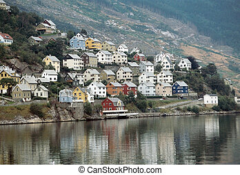 Colored village houses in Norway