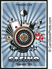 Colored Vintage Gambling Poster