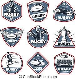 Colored Vintage Rugby Labels Set