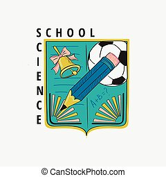 Colored vintage school label