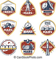 Colored Vintage Space Labels Set