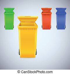 Colored waste bins with the lid open